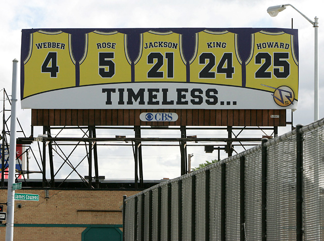 In 2007, Jalen Rose honored his Fab Five teammates with this billboard, which he hung near his old neighborhood on Detroit's west side.