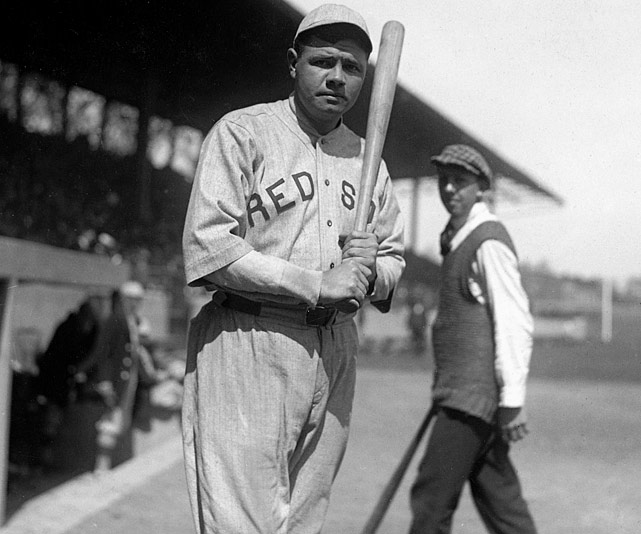 The Babe won 23 games in 1916 and 24 in 1917 as a pitcher, but a more important number emerged during the latter season: .325. This was Ruth's batting average in limited at-bats, and it encouraged Red Sox manager Ed Barrow to utilize the lefty's bat more often.  The next year he led the AL in home runs, and in 1919 he set a new single-season record with 29 home runs. When he was sold to the Yankees in 1920 he converted to outfield full time and broke his own single-season mark three more times before retiring with 714 home runs.