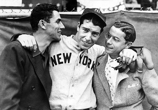This summer marks the 70th anniversary of Joe DiMaggio's record 56-game hitting streak. With that in mind, here are some classic photos of The Yankee Clipper.   1936  Rookie Joe DiMaggio hugs his brothers Vince, left, and Dom before the start of the 1936 World Series in New York.