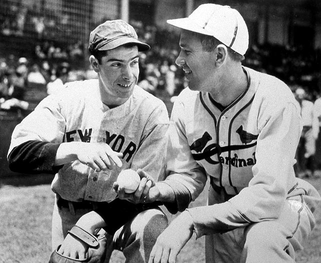 DiMaggio with St. Louis Cardinals star Dizzy Dean.