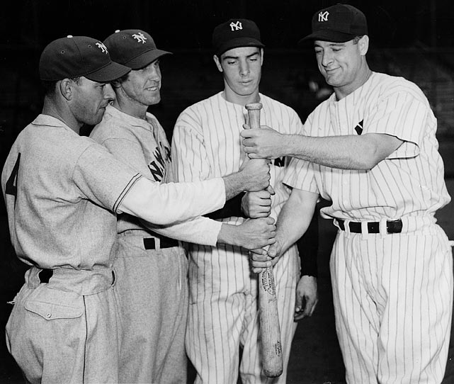 Mel Ott, Joe Moore, DiMaggio and Lou Gehrig at the 1936 World Series.
