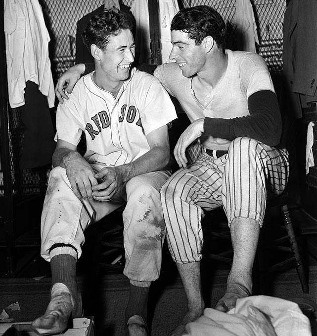 Ted Williams and DiMaggio after the All-Star game in Detroit.