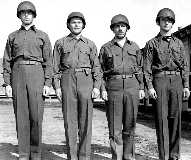 DiMaggio with fellow recruits after receiving his uniform.