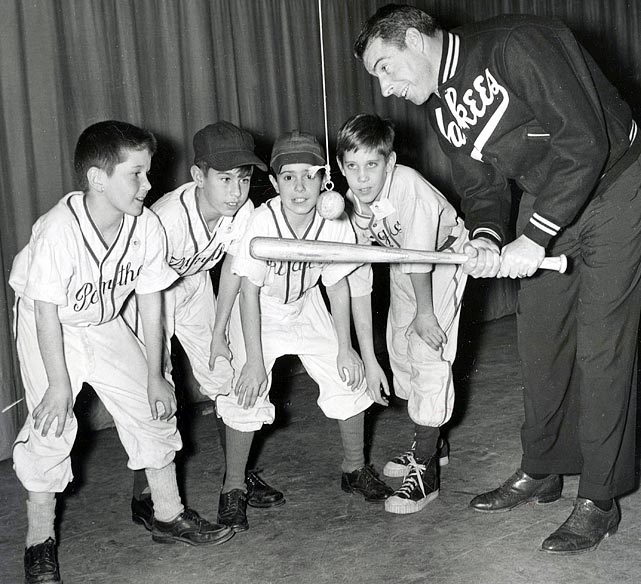 DiMaggio conducts a batting clinic for a group of youngsters in New York.