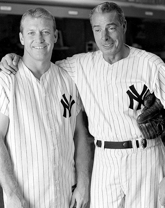Mickey Mantle in the locker room with DiMaggio after an old-timers game.