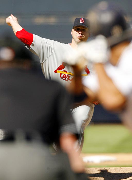Carpenter won the 2005 NL Cy Young award after overcoming a serious shoulder injury that nearly ended his career. He was forced to miss all but five games combined in the 2007 and 2008 seasons because of Tommy John surgery and other ailments. He came back to go 17-4 with a NL-best 2.24 ERA at age 34 in 2009 and finished as the Cy Young runner-up, then went 16-9 with a 3.22 ERA in 2010 while making the All-Star team.