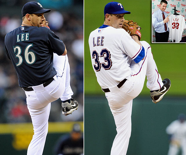 Lee played for the Mariners and Rangers in 2010, before signing with Philadelphia in November.  His ranking reflects sales of jerseys for all three teams.