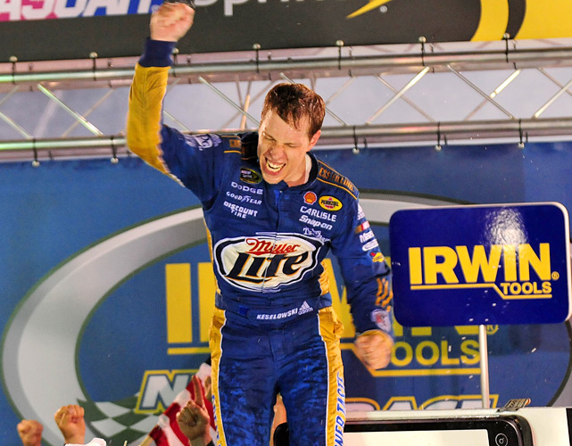 Keselowski continued his hot streak with his third win of the season and his fifth straight top-10 finish as he claimed the Bristol night race. Keselowski held off Martin Truex Jr. and Jeff Gordon to strengthen his bid for his first Chase berth, moving up to 11th in the driver standings.