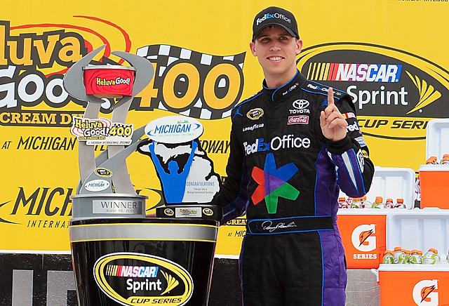 Denny Hamlin raced to his first NASCAR Sprint Cup victory over the year, holding off Matt Kenseth at Michigan International Speedway. The drivers appeared headed for a fuel-mileage finish, then a late caution enabled them to make pit stops before a frantic closing five-lap sprint.