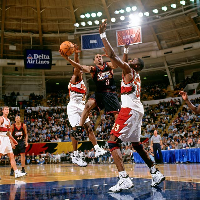 "What made Iverson so entertaining at Georgetown and in the NBA was his ability to blend the Rucker theatrics with the organized pro game. He could shake and bake opponents and run the floor, all while standing just 6 feet tall. ""The Answer"" was just that for the 76ers when they selected him with the No. 1 pick in the 1996 draft. He racked up the Rookie of the Year award that season, followed by an MVP award, four NBA scoring titles, 11 All-Star appearances and two All-Star Game MVPs."