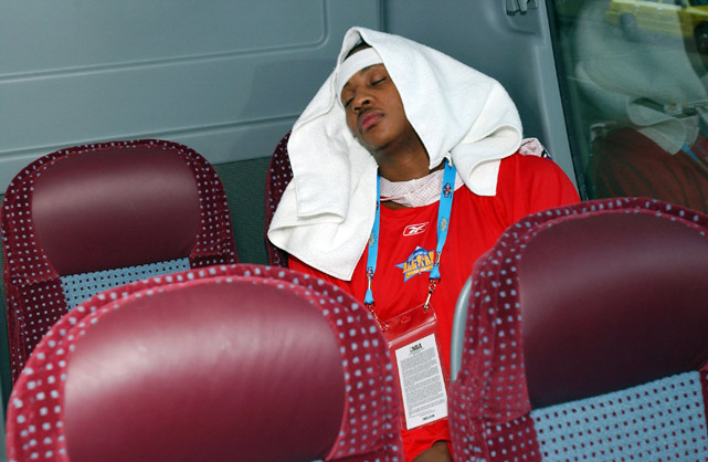 'Melo needed to rest up after the 2005 All-Star Rookie-Sophomore practice.