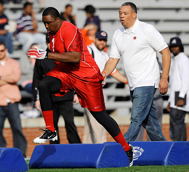 Nick Fairley runs drills for NFL scouts during Auburn's Pro Day. Fairley is considered to be one of the best defensive linemen in the draft.