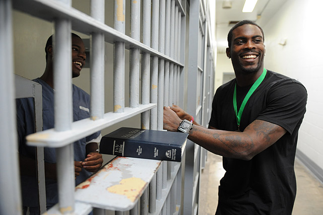 Vick also spent time with the prisoners in solitary confinement. The men on the solitary block only leave their cells for three hours a week.