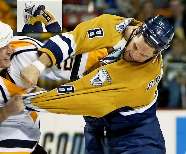 The feared enforcer known as the Grim Reaper fought more than 200 bouts during his 13 years in the NHL and needed surgery to reconstruct his cheek after an early-career battle with Dave Brown of the Flyers. Grimson suffered from post-concussion symptoms during his final season and was knocked out of the league for good by a fight with Georges Laraque of the Oilers in December 2001. He sat out the next season, and when his symptoms remained, retired in June 2003.