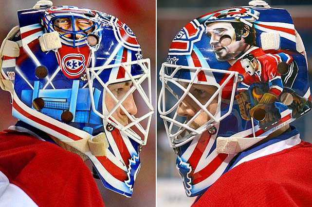 This mask has Patrick Roy, giving his famous 1993 Stanley Cup wink, above the old Montreal Forum, with Ken Dryden and Jacques Plante displayed on the other side.