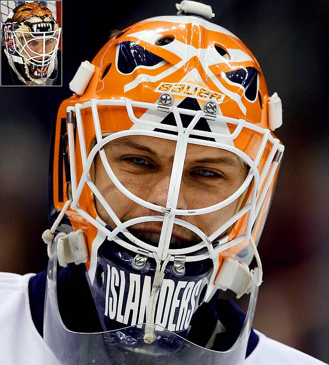 In Biron's one season with the Isles, he chose to replicate a vintage design worn by Islander alumni Billy Smith, ironically a design that Smitty wore for only one season (1977-78) before eventually winning four Stanley Cups. After signing with the Rangers for 2010-11, Biron sported a replica mask (inset) of Gilles Gratton when the Blueshirts wore their alternate jerseys in honor of the franchise's 85th anniversary. Apart from his mask, Gratton was best known for claiming he'd been reincarnated, and feigning injury when he needed to take a breather during a game.
