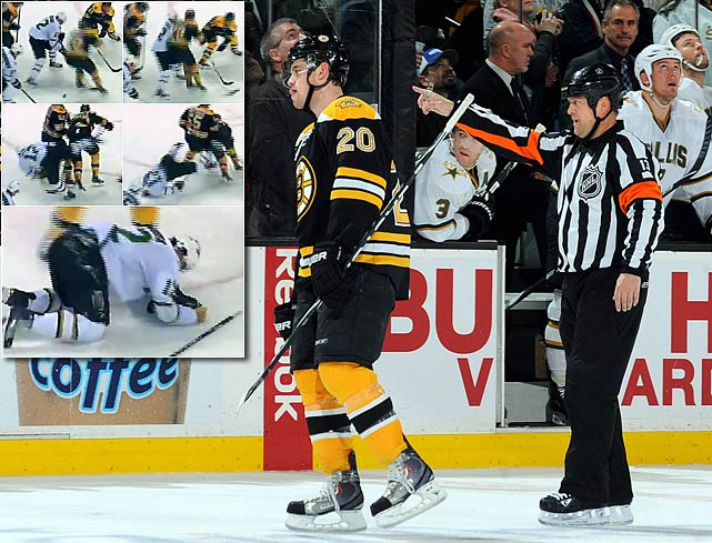 "The ugliest incident in the Bruins-Stars brawlfest was the blindside hit that Bruins winger Paille laid on Raymond Sawada, breaking the Dallas winger's nose and leaving him with a shoulder injury. Paille received a four-game suspension and his teammate Andrew Ference candidly admitted, ""I mean, it's a bad hit, right? That's what they're trying to get rid of. You can't be a hypocrite and complain about it when it happens to you and say it's fine when your teammate does it."""