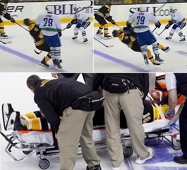 Right winger Nathan Horton of the Bruins was hospitalized after being levelled by a shoulder to the head from defenseman Aaron Rome of the Canucks. Rome was ejected and later received a four-game suspension for the blindside hit in a game that turned ugly, producing 20 penalties, including a fight between Canucks center Ryan Kesler and Bruins defenseman Dennis Seidenberg, and nine 10-minute misconducts.