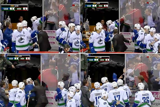 "After fights with Minnesota's Brad Staubitz, Canucks forward Rick Rypien was given a double minor for roughing and a 10-minute misconduct. As he exited the ice, Rypien grabbed a jeering Wild fan by the shirt and had to be pulled away by teammate Manny Malhotra. Rypien was immediately suspended pending a hearing with the NHL to determine how long he would sit. He got six games and was fined $25,000. Commissioner Gary Bettman said in a statement: ""We hold NHL players to a high standard, and there simply is no excuse for conduct of this nature. Fortunately, this incident is not typical of the way NHL players conduct themselves and is not typical of the way Mr. Rypien had conducted himself during his career."""