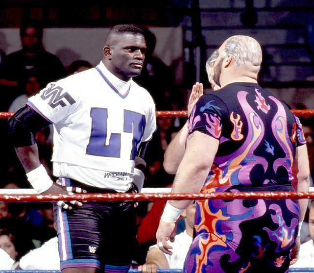 WrestleMania XI took place in Hartford and featured former NFL star Lawrence Taylor making his wrestling debut against Bam Bam Bigelow. The feud started at the Royal Rumble when Taylor, who was seated at ringside, taunted Bigelow after his match. The two agreed to fight at WrestleMania. LT was accompanied to the ring be fellow NFL players Ken Norton Jr., Chris Spielman, Rickey Jackson, Carl Banks, Reggie White, and Steve McMichael. In the match, Taylor pinned Bigelow after hitting his with a forearm off the second rope.
