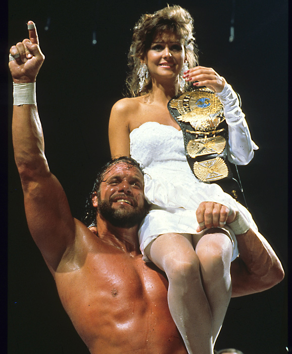 "At WrestleMania IV, 14 wrestlers competed in a one-night tournament to crown a new WWF champion. In the finale, Randy ""Macho Man"" Savage (with a little help from Hulk Hogan) defeated ""The Million Dollar Man"" Ted DiBiase. In this photo, Savage celebrates his title victory with his valet, Elizabeth."