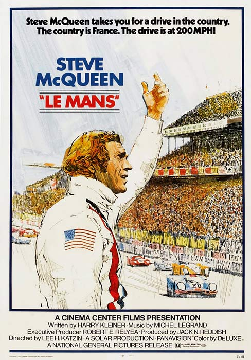 Steve McQueen at the 24 Hours of Le Mans, his part in the death of a competitor still fresh on his mind. Porsches. Ferraris. Jaunty scarf, anyone?