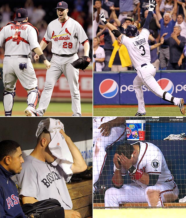 "In arguably  the wildest night in MLB regular season history, the Red Sox, Rays, Braves and Cardinals  entered the 162nd game competing for two playoff spots, the AL and NL wild-card berths. What unfolded next was the stuff of legend. In the NL, the Braves blew a ninth inning lead to lose 4-3 to the Phillies in 13 innings, while the Cardinals cruised 8-0 to complete their late season tear, winning 23 of their final 31 games. Once trailing Atlanta by 10.5 games on Aug. 25, St. Louis improbably clinched a playoff spot.  The American League was even crazier. Boston -- which led Tampa Bay by nine games on Sept. 4 -- seemed on the verge of staving off collapse, taking an early 3-2 lead over the Orioles while the Rays fell behind the Yankees 7-0. It was not to be. Red Sox closer Jonathan Papelbon surrendered consecutive hits to Chris Davis, Nolan Reimold and Robert Andino to lose 4-3. The Rays stormed back behind a pair of dramatic homers from Evan Longoria -- including a 12th inning walkoff -- to win 8-7.  Rays' manager Joe Maddon summed it up best. ""It was a crazy night,"" he said. ""What happened out there goes beyond imagination."""