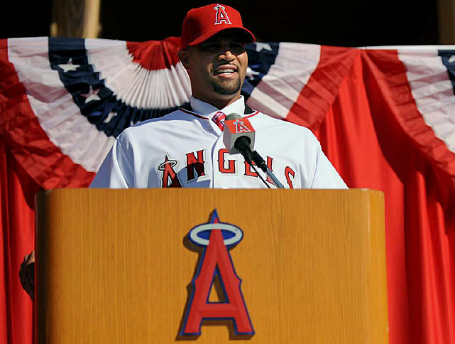 After playing his entire 11-year career with the St. Louis Cardinals, Pujols went on the open market. The 31-year-old first baseman agreed to a $254 million, 10-year contract with the Los Angeles Angels.