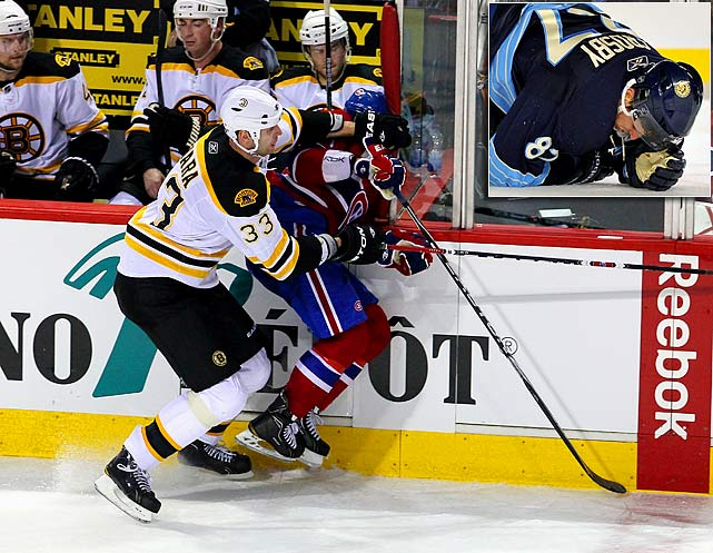 An epidemic of head shots, concussions, brawls, suspensions and related controversies overshadowed otherwise sterling play. The flashpoint was the March 8 hit by Bruins defenseman Zdeno Chara that drove Max Pacioretty into a turnbuckle at the end of Boston's bench, leaving the Canadiens forward concussed and with a broke vertebra. When Chara was not suspended, the NHL's efforts to protect its players were called into question. Despite the adoption of Rule 48 banning blindside and lateral hits to the head, concussions increased during the 2010-11 season for a variety of reasons. One of the victims was the NHL's biggest star, Sidney Crosby (inset), who missed the rest of the regular season after taking a blow to the head during the Winter Classic on Jan 1. and again four days later when driven into the glass by Tampa Bay defenseman Victor Hedman.