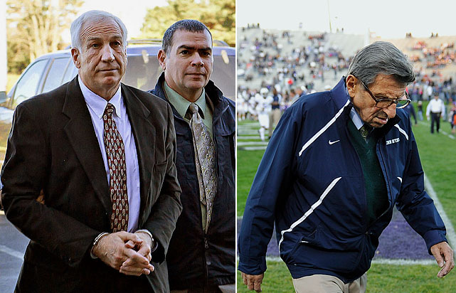 In the wake of a sex scandal that led to the indictment of former Penn State defensive coordinator Jerry Sandusky, legendary head coach Joe Paterno was fired by the Board of Trustees after 46 years in the position. Athletic Director Tim Curley had stepped down earlier in the month as questions were raised whether school officials, including Paterno, could have prevented alleged sexual abuse in which Sandusky was accused of  abusing eight boys over 15 years. On the day that Paterno was fired, the Board of Trustees also ousted the school president.