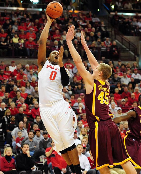 The National Freshman of the Year averaged 17.2 points and 10.2 rebounds per game in leading Ohio State to the Big Ten title. But after the nation's No.1 team lost to Kentucky in the Sweet Sixteen, Sullinger vowed to return, making the Buckeyes a true contender again next year.