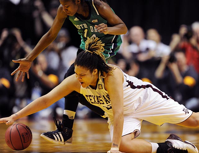 "Adams dives for a loose ball. The All-America shed 40 pounds last summer and took her game to the next level. ""I had a little voice in my head that said 'Don't let this team down,'"" Adams said. ""I just took the game over."""