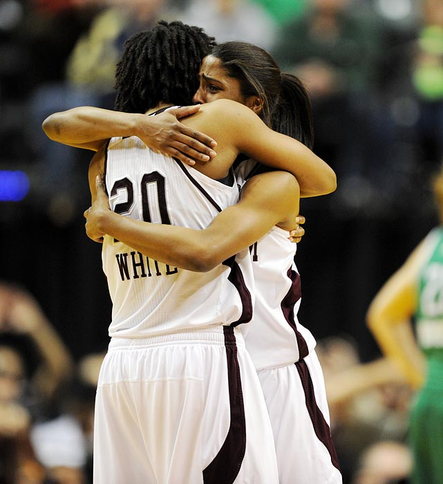 Tears of joy flowed for the Aggies, including clutch-shooting specialist Tyra White (20). After she made the game-winning layup against Stanford in the semifinals, White hit a three-pointer as the shot clock expired to give Texas A&M a 73-68 lead with 1:07 left.