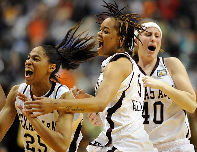 Skylar Collins (25), Kristi Bellock and Kelsey Assarian begin the celebration. After Texas A&M extended its lead to five, lockdown defense prevented the Irish from getting off a good look. Free throws down the stretch helped seal the win.