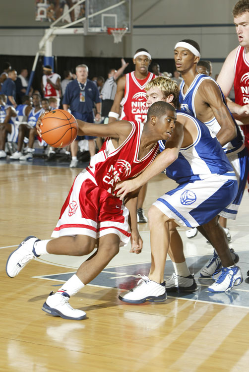 "The 18-year-old guard from West Forsyth High in Clemmons, N.C., lit up the 2002 Nike Camp with teammate and future Cavaliers guard Daniel ""Boobie"" Gibson (background)."