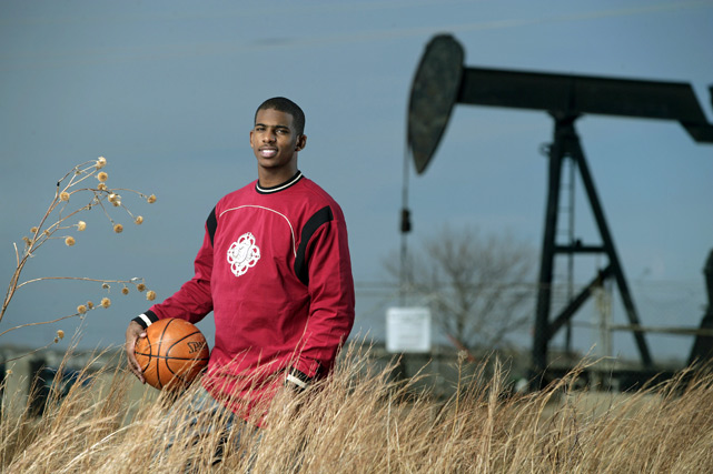 And here's Chris Paul in an oil field. With a basketball. Because that's normal.