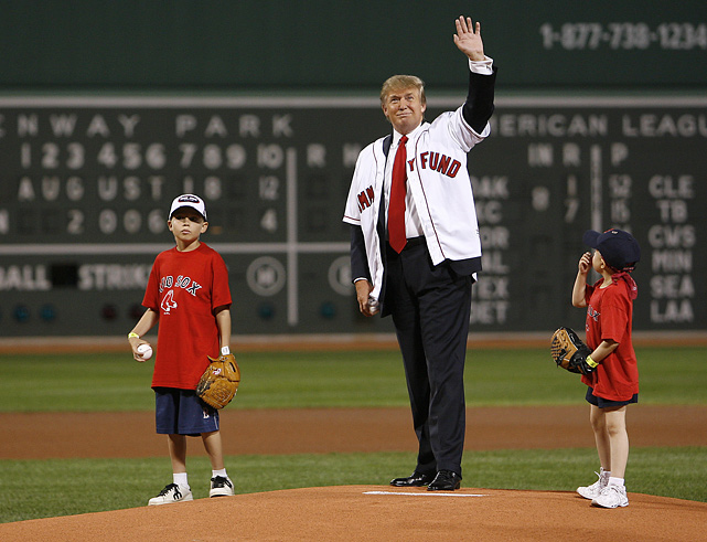 Trump throws out the first pitch before the second game of a doubleheader between the Red Sox and Yankees at Fenway Park.