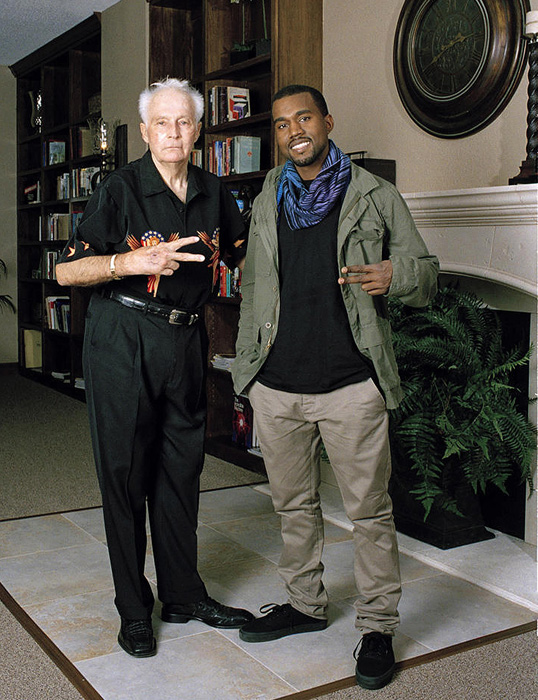 The daredevil flashes the peace sign with Kanye West in 2007. The daredevil and the rapper peacefully resolved a trademark dispute over West's use of Knievel's image in a music video.
