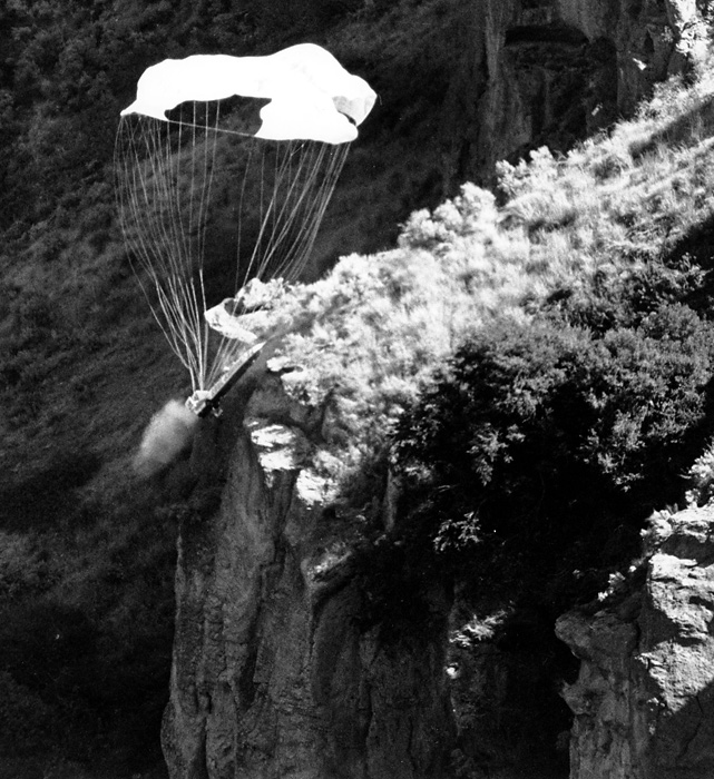 As many expected, the jump was a failure. The parachute accidentally deployed when the Sky-Cycle was launched, and strong headwinds blew Knievel back into the canyon, where he crashed, 600 feet below, just a few feet from the swirling waters of the river.  Miraculously, Knievel walked away with only minor injuries.
