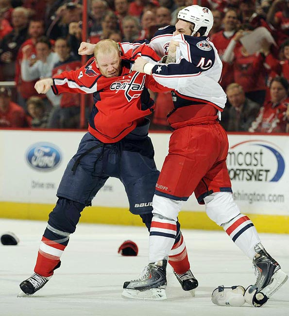 Tempers were flaring during a tightly-contested match between the Blue Jackets and the Capitals on March 31.  The Capitols would win 4-3 in overtime on a Jason Chimera tip-in.
