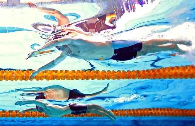 Cameras were seeing double during the men's 50-meter butterfly at the 2011 Australian swimming championships in Sydney, Australia.