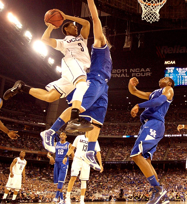 UConn freshman Jeremy Lamb goes up for a contested shot against Kentucky during the Huskies' 56-55 victory over the Wildcats in the Final Four.  Lamb averaged only 11.1 ppg during the regular season but turned a corner in the NCAA tournament, averaging 17.2 ppg throughout the Huskies' run to the championship game.