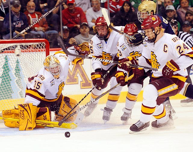 Teamwork was the name of the game as the Minnesota Duluth Bulldogs defeated Notre Dame 4-3 in the semifinals of the Frozen Four.  The Bulldogs would go on to defeat Michigan in the championship game for their first title.