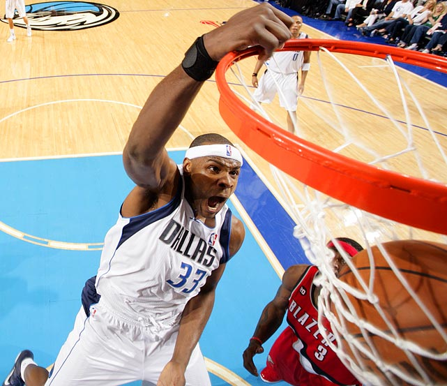 Dallas Mavericks center Brendan Haywood dunks with gusto during the Mavericks' 89-81 win over the Trail Blazers in Game 1 of the Western Conference quarterfinals. The dunk was Haywood's only basket of the game.