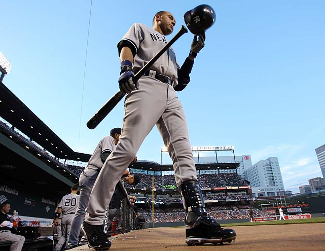 Derek Jeter heads to bat against the Orioles on Wednesday.