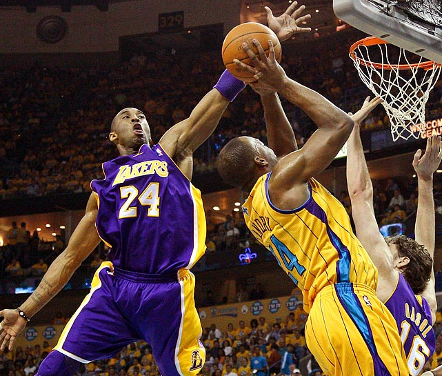 Led by Kobe Bryant (left), the Los Angeles Lakers got defensive in Game 3 of their Western Conference quarterfinals match against the New Orleans Hornets.  Bryant recorded one block and three steals, and the Lakers prevailed 100-86 at the New Orleans Arena.