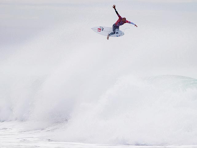 U.S. surfer Kelly Slater catches some serious air during the Rip Curl Pro event in Bells Beach, Australia.