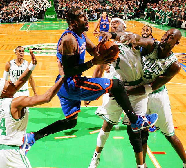 New York Knicks forward Amar'e Stoudemire (center) posted four points and five rebounds in Game 2 of the Eastern Conference quarterfinals before leaving at halftime with back spasms.  The Knicks would go on to lose the game to the Boston Celtics 96-93.