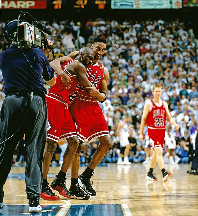 A virus-ravaged Jordan, who could barely stand by game's end, scored 15 of his game-high 38 points in the fourth quarter, including a crucial three-pointer with 25 seconds left, as the Bulls prevailed 90-88 in Game 5 of the Finals. The Bulls rallied from a 16-point deficit, snapped Utah's 22-game home winning streak and took a 3-2 lead in the series, which they closed out in Game 6. Chicago was in position to win in six games in part because of Jordan's game-winner in Game 1.