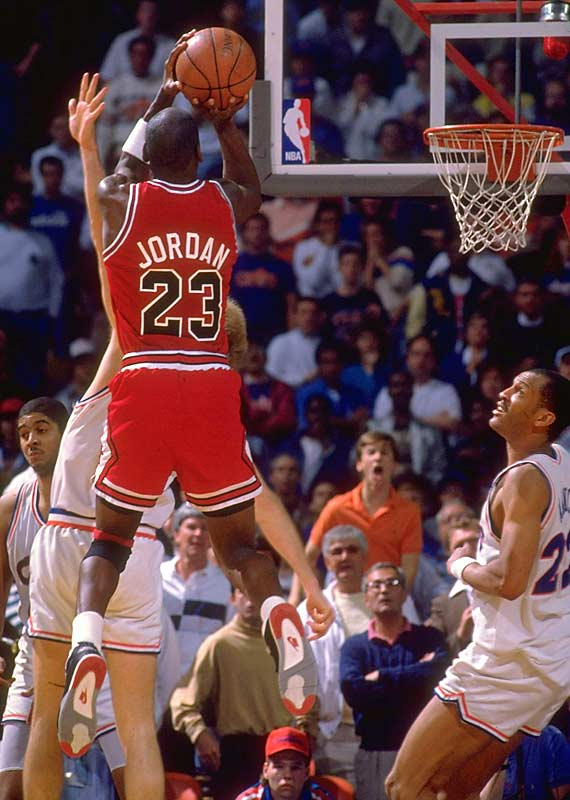"With the Bulls trailing by a point with three seconds left in the final game of a hard-fought first-round series, Jordan took an inbounds pass from Brad Sellers, spun to the top of the key and hit a hanging, double-clutch, 18-foot jumper over Craig Ehlo at the buzzer, stunning the 20,273 in attendance at Richfield Coliseum. ""The Shot"" capped his 44-point, nine-rebound, six-assist performance as Chicago upset the second-seeded Cavaliers."